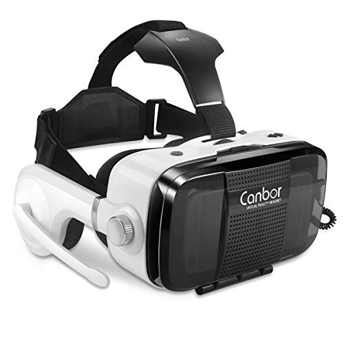 Price comparison product image Canbor Virtual Reality Headset, VR Headset VR Goggles Built-in Stereo Headphones Microphone for 3D Movies and Games Compatible with 4.7-6.2 Inches Apple iPhone, Samsung More Smartphones