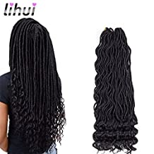 "Lihui 6Pcs/Lot Goddess Locs Faux Locs Crochet Hair Wavy Faux Locs with Curly Ends Goddess Faux Locs Synthetic Braiding Hair Extension (20"",#1B Color)"