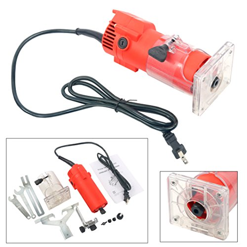 YaeTek 110V Trim Router Edge Woodworking Wood Clean Cuts Power Tool Set 30000RPM