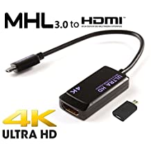C-zone Sony Xperia Z Ultra MHL 3.0 HDTV Adapter! Easily Connects to your HDTV up to 4K using the official adapter!Micro USB to HDMI Adapter for Samsung Galaxy Note 4 Xperia Z2/Z3-Black