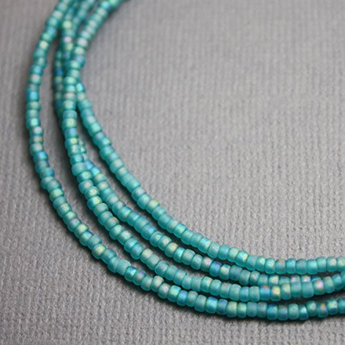 Matte Transparent Turquoise Seed Bead Necklace-Single Strand-Sterling Silver Clasp - Turquoise Single Strand Necklace