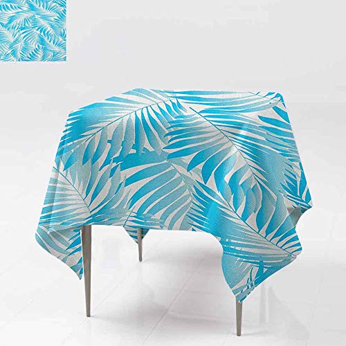 AndyTours Square Tablecloth,Leaf,Miami Tropical Aquatic Palm Leaves with Exotic Colors Modern Summer Beach,for Events Party Restaurant Dining Table Cover,36x36 Inch Turquoise Aqua -