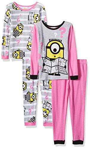 Despicable Me Girls' Little 4-Piece Cotton Pajama Set, Curiously Coral, -