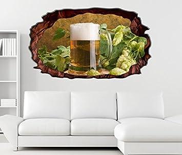 3D Wandtattoo Bier Glas Hell Bierbrauerei Selbstklebend Wandbild Tattoo  Wohnzimmer Wand Aufkleber 11L176, Wandbild Größe