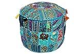 khushvin Handmade Pouf Indian Patchworkl Ottoman Bohemian Indian Patchwork Ottoman b Vintage Sari Patchwork Ottoman Traditional Ottoman