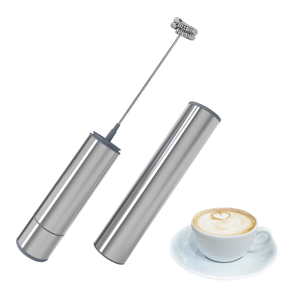 Daugee Milk Frother, Electric Handheld Milk Foamer with Double Stainless Steel Whisk Head Clean Brush and Storage Tube Perfect for Cappuccinos, Bulletproof Coffee, Latte (Battery Not Included)