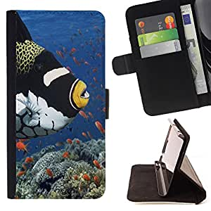 - Ocean Seas - - Premium PU Leather Wallet Case with Card Slots, Cash Compartment and Detachable Wrist Strap FOR Sony Xperia Z1 M51W Z1 mini D5503 King case