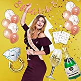 Today's Deal Placement Rose Gold Bachelorette Party Decoration - Bridal Shower Idea Bride To Be Banner Sash Veil Diamond Ring Champagne Bottle Goblet Foil Balloon Tribe Flash Tattoo Confetti Miamacasa