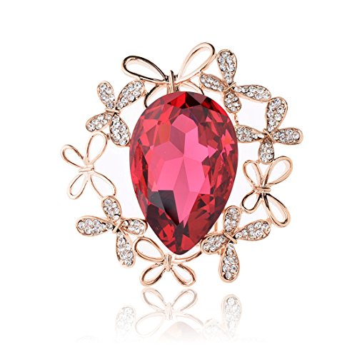 Tagoo Vintage Oval Teardrop Flower Leaf Scarf Brooch Bouquet Pin for Women& Teen Girls in Crystal Rhinestone (Red Oval Teardrop 4-Leaf Design 1.85