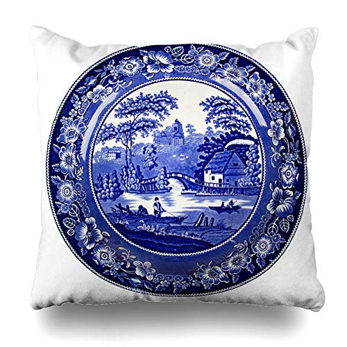 - Ahawoso Throw Pillow Cover Farmer Blue Delft Very Old Dutch Plate Food Made Drink Vintage Porcelain Pottery White Antique Decorative Pillow Case 20x20 Inches Square Home Decor Pillowcase