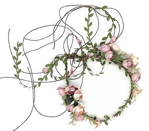 - QYC Adjustable Flower Girl Garland Headband First Communion Crown Hair Wreath Halor Old White One Size