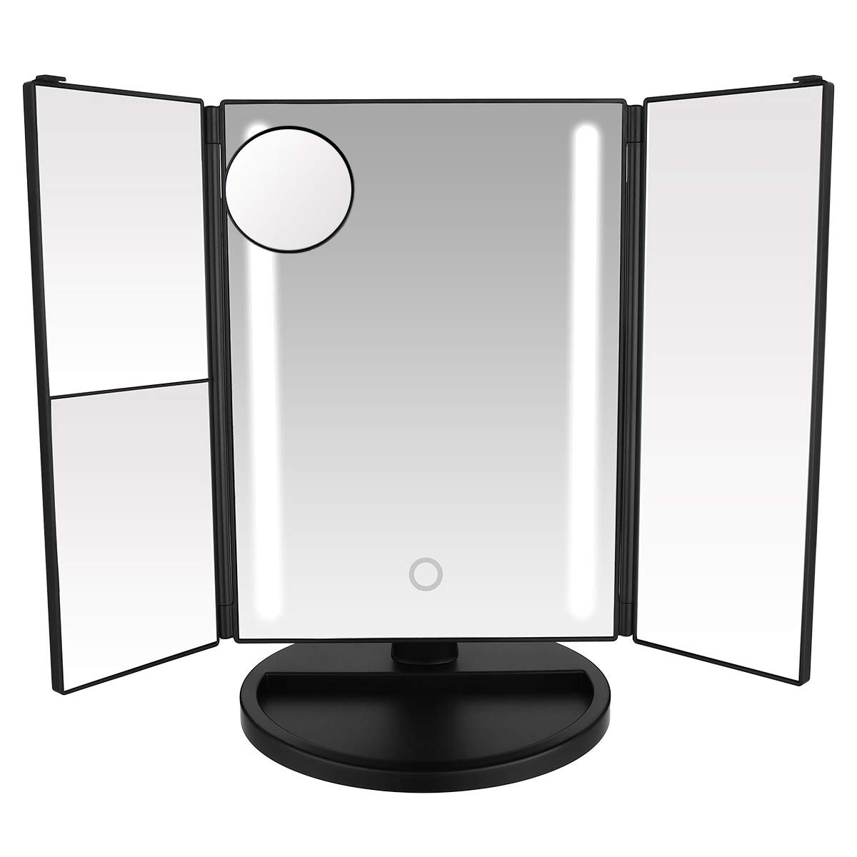 LEPO LED Makeup Mirror, Makeup Vanity Mirror with 1X/2X/3X/10X Magnification, Cosmetic Mirror with 24 LED Lights, 180 Degree Adjustable Rotation (Black)