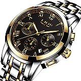 LIGE Mens Watch Japan Analog Quartz Watch Waterproof Sports Watch Chronograph Top Brand Luxury Business Watches Stainless Steel Gold Clock