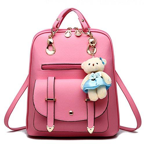 Hynbase Women's Summer Cute Korean Leather Student Bag Backpack Shoulder Bag Pink