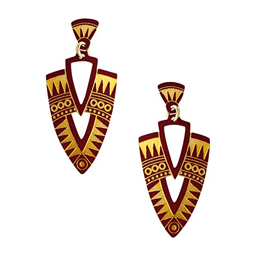 Adajio Thin Lightweight Goldtone and Burgundy Art Deco Etched Shield Post Earrings