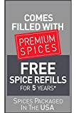 Kamenstein 20 Jar Stainless Steel Revolving Spice Tower - Filled with 20 Premium Spices Plus Free Spice Refills for 5 Years