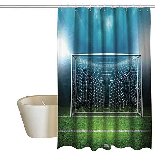 (Sports Decor Floral Shower Curtain Soccer Goal Post Sports Area Winner Loser Line Floodlit Best Team Finals Game Gym Theme Shower Curtain bar W36 x L72 Green Blue)