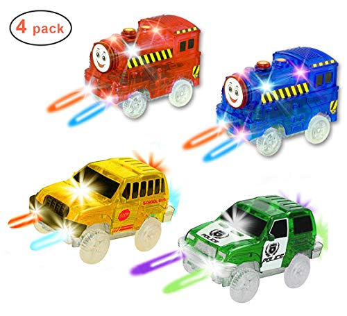 THREE BEARS [4 Pack] Light Up Replacement Race Track Cars + Trains Toy,with 5 LED Lights Per Vehicle, Glow in The Dark Racing Track, Compatible with Most Tracks for Boys & Girls