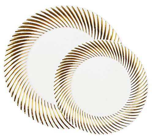 Party Joy 200-Piece Plastic Dinnerware Set | Swirl Collection | (100) Dinner Plates & (100) Salad Plates | Heavy Duty Premium Plastic Plates for Wedding, Parties, Camping & More (Gold Swirl) - Swirl Salad Plate Set
