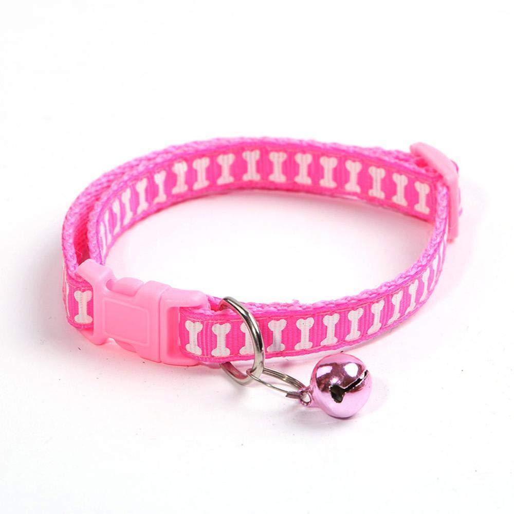 Daeou Collari per cani Adesivi poliestere osso gatto campana collo anello, 1,0 cm  19-31cm