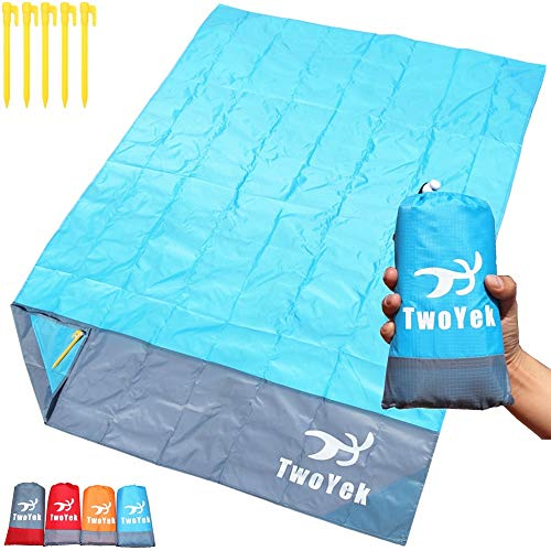 Outdoor Beach Blanket Picnic Mat - Lightweight Compact Portable Pocket Waterproof Sand Proof Beach Mat for Travel Hiking Camping Parks Sports Festivals Quick Drying 79″x 55″ Blue