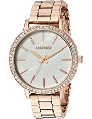 Armitron Womens 75/5500MPRG Swarovski Crystal Accented Rose Gold-Tone Bracelet Watch
