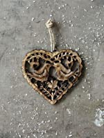 Wood Heart with Birds Ornament