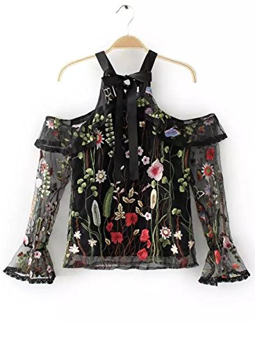Black Shoulder Blouse Halter Floral Printed Long Women's Off Achicgirl Sleeve xq4W8wZz8n