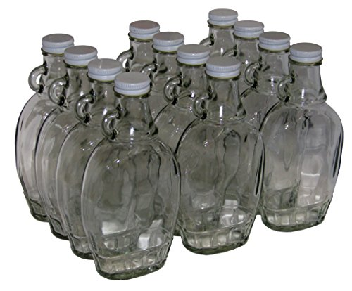 North Mountain Supply 8 Ounce Glass Maple Syrup Bottles with Loop Handle & White Metal Lids - Case of 12