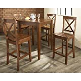 Crosley 5-Piece Pub Dining Set with Tapered Leg and X-Back Stools, Classic Cherry Finish