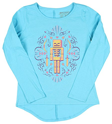 Price comparison product image Skeleton Minecraft Girls Long Sleeve Crew Neck Graphic Tee (10-12)