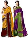 ELINA FASHION Pack Two Sarees Indian Women Cotton Art Silk Printed Weaving Border Saree || Sari Combo (Multi 11)