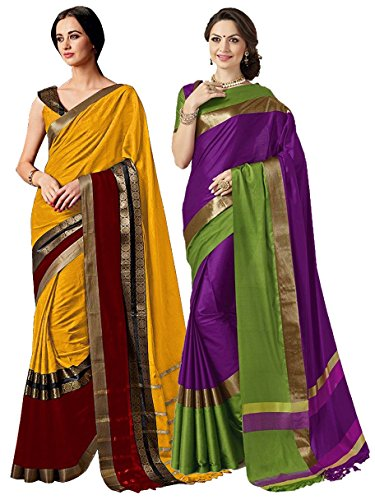 wo Sarees Indian Women Cotton Art Silk Printed Weaving Border Saree || Sari Combo (Multi 11) ()