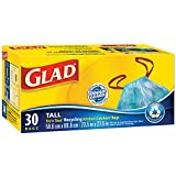 Glad Blue Recycling Bags - Tall 42.5 Litres - Drawstring, 30 Trash Bags
