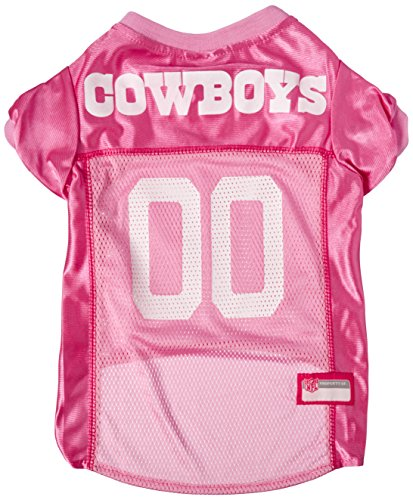 NFL Dallas Cowboys Dog Jersey Pink, Large. - Football Pet Jersey in Pink