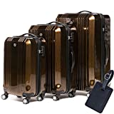FERGÉ Luggage Set 3 Piece Hard Shell Trolley Cannes Suitcase Set 4 Twin Spinner Wheels Brown