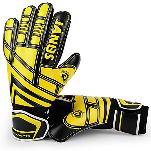 JYH Professional Adult & Youth German Latex Soccer Goalie Goalkeeper Gloves Fingersave With Finger Spines,Strong Grip for The Toughest Saves For Kids and Youth (Control Soccer Keeper)