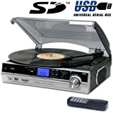 Steepletone Record Player Turntable + MP3 Recording & Playback (ST929 PRO 2015 / 2016 Model) - Remote Control - Stand Alone Music Player - Audio Built In Amplifier & Stereo Speakers - (Record Player (Built In Speakers), Black / Silver)