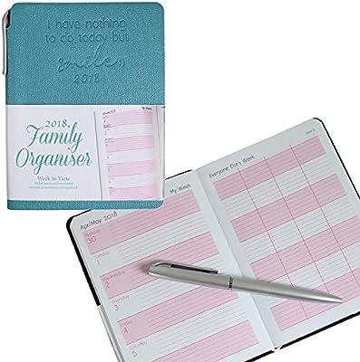 Organizador familiar Tallon 2018 con portada suave y lápiz, tamaño A6, en color azul