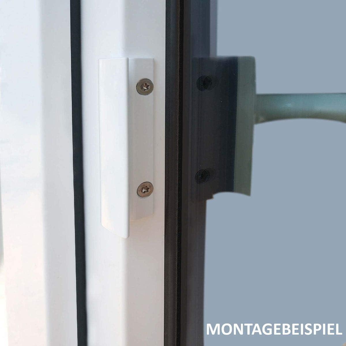 Ziehgriff für Balkontür Glasfalzgriff Aluminium Ziehgriff mit Steg Weiß//Alu