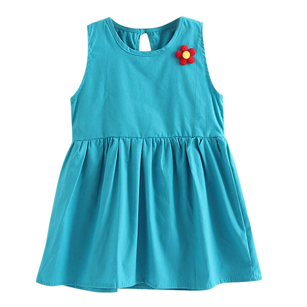 Transer- Toddler Baby Girls Flower Shirt Dress Sleeveless Ruffles Stretchy Ruched Casual Dresses for Kids Blue