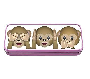 Emoji monos Metal estuche de metal (rosa): Amazon.es ...