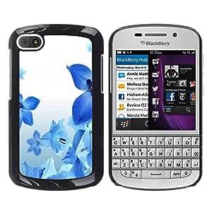 YOYOYO Smartphone Protección Defender Duro Negro Funda Imagen Diseño Carcasa Tapa Case Skin Cover Para BlackBerry Q10 - flores de color azul blanco naturaleza fresca primavera