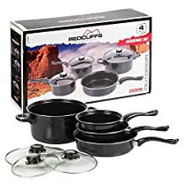 Redcliffs Outdoor Gear 7Pc Non Stick Black Cookware Pot & Pan Set With Lids