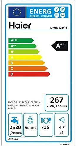 , Argent, LED, panier 60 cm Autonome, Argent, Taille maximum Haier DW15-T2147S Autonome 15places A++ lave-vaisselle Lave-vaisselles