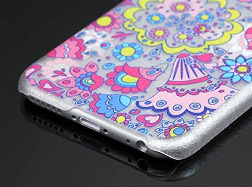 """JewelryWe Cartoon Bunte Blumen Harte Handy Case Schutzhülle Tasche Hülle Rückenschutzhülle für Apple iPhone 6(4,7""""), Transparent Mehrfarbig"""