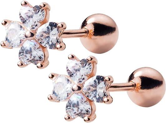 Flower Earrings Cartilage Earring Silver Helix Stud Jewel Conch Bar Tragus Bars
