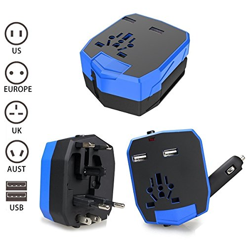 Travel Adapter - Worldwide Universal Dual USB Travel Power Adapter - International Plugs Converter for Europe Italy UK India Israel Asia Travel Accessories Adapter (Blue) (British Current Converter compare prices)