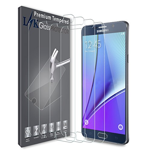 [4 PACK] LK Screen Protector for Samsung Galaxy Note 5, [Japan Tempered Glass] 9H Hardness With Lifetime Replacement Warranty