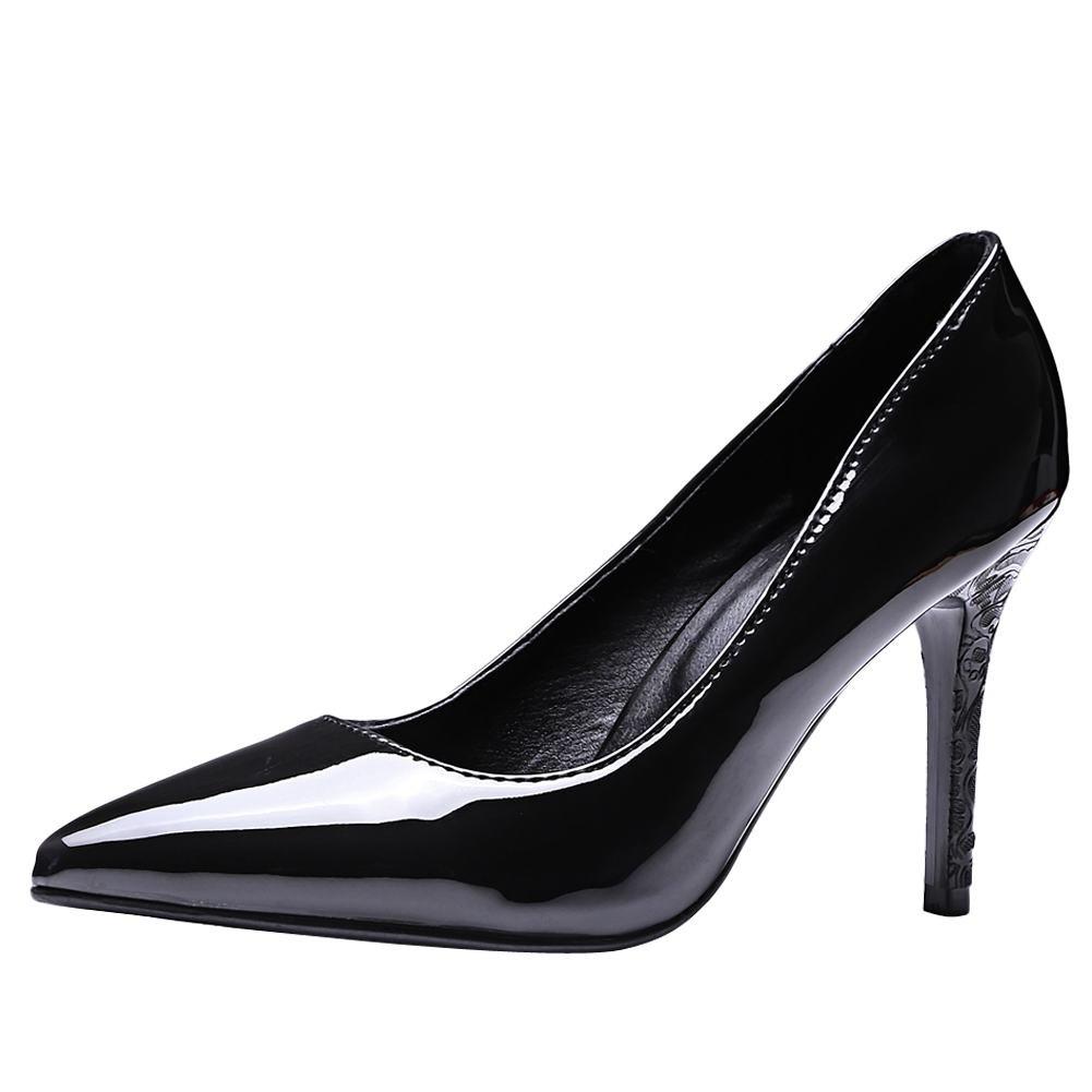 MissSaSa Damen Glitzer Lack Stiletto Leder-Pumps43 EU|Schwarz